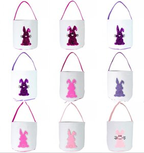 DHL Free Easter Egg Storage Basket Canvas Sequins Bunny Ear Bucket Creative Easter Gift Bag With Rabbit Tail Decoration 8 Styles