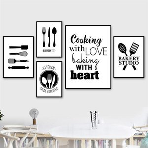 Black White Cooking With Love Kitchen Quote Wall Art Canvas Painting Prints Posters Kitchen Dining Room Decoration Picture CH117