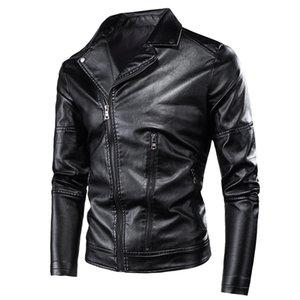 HTLB Erkekler Punk Vintage Stil Kaya Rulo Rahat Deri Ceketler Ceket Erkekler Sonbahar Tasarım Motosiklet Biker Rivet PU Deri Ceketler T200117