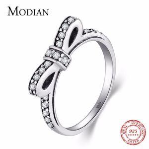 подарок Modian Аутентичных Твердой серебро 925 стекируемых кольца Свадебной мода банта ювелирных изделий игристого CZ Женщина Валентин