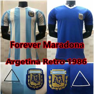 1978 1986 Argentinien Maradona Retro Fussball Jerseys 86 78 Maradona Football Hemd Argentinien Maillot de Foot Männer + Kinder Set Camisetas de fútbol