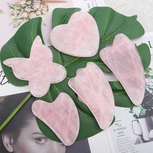 Rose Quartz Jade Guasha Board Natural Stone Scraper Chinese Gua Sha Tools For Face Neck Back Body Acupuncture Pressure Therapy fgfha