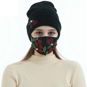 Bonnets d'hiver Casquettes avec masque facial Sport Knit Cristal Party Chapeaux Épaissir Casual Casual Putterfly Imprimer Caps Caps Casquettes CCA3411