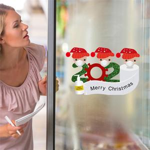 Janela Decoração de Natal quarentena Etiqueta Papai Noel Frigorífico Porta Frigorífico PVC etiqueta família de 2 3 4 5 Ornamento AHD2086