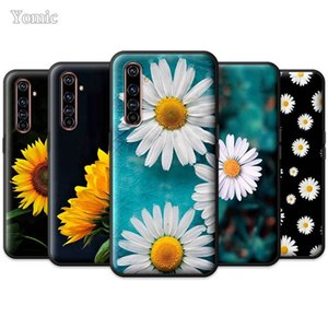 Black TPU Case for Realme 6 5 X2 X50 Pro 5G 6i 6S Narzo 10 10A X3 XT C3 C3i Soft Phone Bags Cover Summer Daisy Sunflower Floral