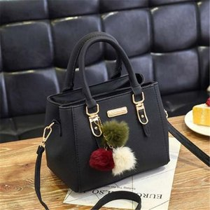 Fashion Women Handbags Hairball PU Leather Totes Bag Top-handle Embroidery Crossbody Bag