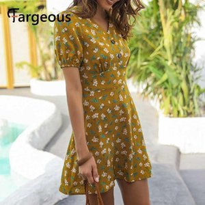 Fargeous V cou floral imprimé robe courte robe femmes Fashiaon mince mini robe 2020 Été Dames Beach Holiday Sleeve Sleeve Vestidos1