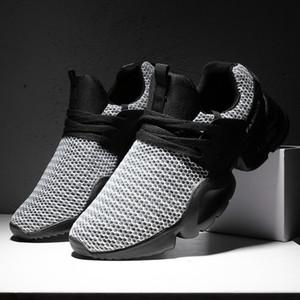 Erkekler Mesh Rahat Ayakkabılar 2018 Moda Bahar Nefes Dantel Up Siyah Işık Flats Sneakers Erkek Koşu Ayakkabıları Boyutu 39-44