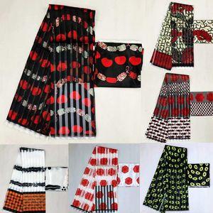 Hot sale Gahna Style satin silk fabric with organza ribbon African wax design ! J70825 T200529