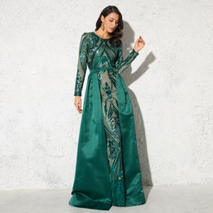Green Sequined O Neck Full Sleeved Evening Party Dress Stretchy Floor Length Ball Gown with Detachable Train Burgundy 0930