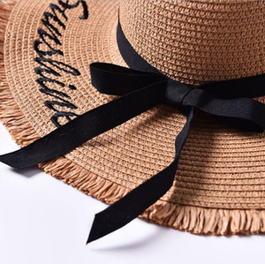 Handmade Weave letter Sun Hats For Women Black Ribbon Lace Up Large Brim Straw Hat Outdoor Beach hat Summer Caps Chapeu Feminino 201015