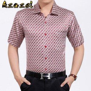 Azazel camisas de los hombres de seda real Camisa 2020 Nuevo Corto solo pecho camisa de la impresión de las camisas sport del otoño de 3036 PWX05