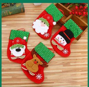 New Mini Christmas Hanging Socks Cute Candy Gift bag snowman santa claus deer bear Christmas Stocking for Christmas Tree Decor Pendant Hot