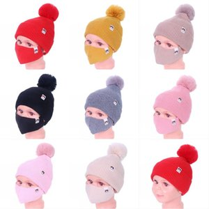 DHL Shipping Boys Girls Warm Pompom Hats with Mask Windproof Caps Reusable Children Winter Thick Knit Cap Sports Ski Hat Kimter-L776FA