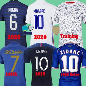 France 2020 MBAPPE Griezmann Pogba Jerseys 2021 Camisetas de fútbol de Jersey de fútbol Maillot de Pie Men + Kit Kit Training 100th 2018 Retro 1998