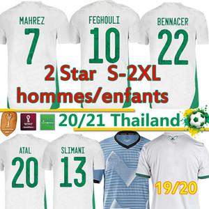 2020 2021 Cezayir Maillot de Futbol Futbol Formaları 2 Yıldız Ev Beyaz Mahrez Bounedjah Bouazza 19 20 Cezayir Erkekler Kids Kits Üniforma S-2XL
