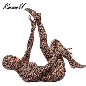 Knue Sexy Leopard Женщины Bodysuit Zentai Suit Открытая промежностная пленка Стрельба Костюм Косплей Одежда Кожа Crossdress1