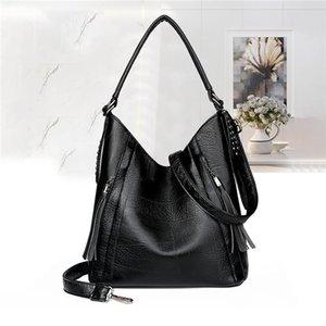 Big Bucket Bags Soft Female Lady Large Size Bags Simple Patchwork Leather Cross Vintage Bag Body Women For Handbag Shoulder Qregm