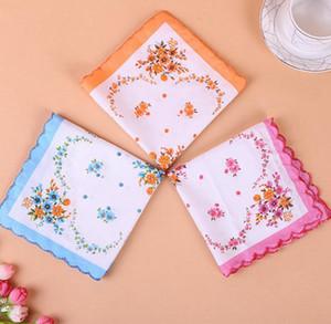 Cotton Handkerchief floreale ricamato donne Fazzoletti Fiore Lady Hankies Mini SquareScarf Boutique tasca tovagliolo libero BWF1180
