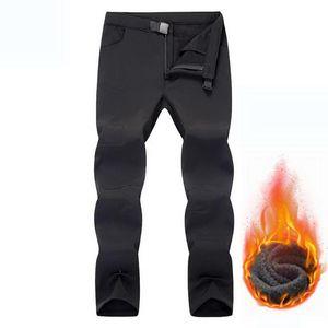 NUONEKO Softshell hiver Hommes Pantalons Outdoor Sport Ski Chasse Trekking tactique imperméable chaud en polaire Pantalon PM42