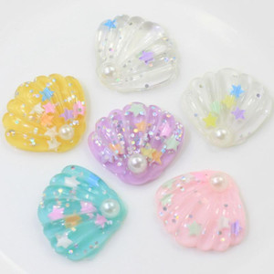 10 50pcs Resin Glitter Shell Artificial Flatback Cabochon Rainbow With Star Cabochons For Sea Theme Home Decor Earring