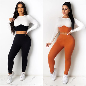 Sets Casual Crew Neck Tracksuits Designer Damen Zweiteilige Hosen 21FW Täfelte Mode Womens Two Piece