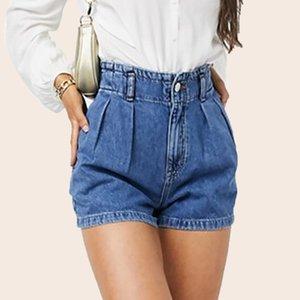 Summer Blue Women's Denim Shorts High Waist Harem Ruffle Shorts Elastic Waist Jeans for Women XS-L Q0104