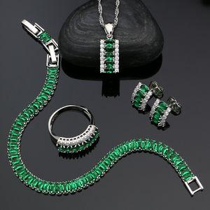 Zirconia Women Wedding Jewelry Green Cubic 925 White Crystal Silver Stud Earrings Pendant Ring Bracelet Necklace Sets