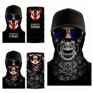 Mode écharpe nouveauté Bandanas Parti écharpe cyclisme Bandanas Coiffures transparente Wraps magique Halloween IIA211 Imprimer Masques Skull Fashion Sc PVMQ