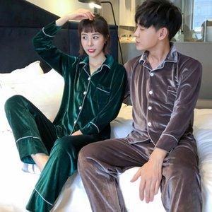 sUGv8 Korean velvet couple women's autumn winter new suit plus large size home pajamas pajamas wedding long sleeve Korean version home suit