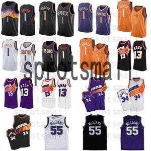 Devin 1 Booker Basketball Jersey Mens Steve 13 Nash 34 Barkley Jason 55 Williams Branco Black Black Shirt