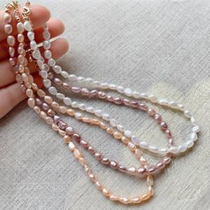 5-6mm kleiner Reis unregelmäßiger barocken Perlenschmuck Elegante natürliche Süßwasserperlen-Choker-Halsketten für Frauen Kurze Kragen 37cm