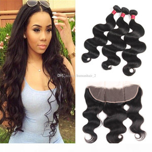 8A Body Wave Human Hair Bundles With Lace Frobtal Body Wave Hair Bundles 3pcs With Lace Frontal 13*4 Bleached Knots Full Lace Frontals