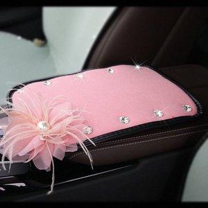 Çiçek Kristal Rhinestone Araba Kolçaklar Kapak Pad Kış Peluş Araç Merkezi Konsol Kol yastığı Kutusu Yastık Örtüleri Koruyucu Kadınlar i55I #