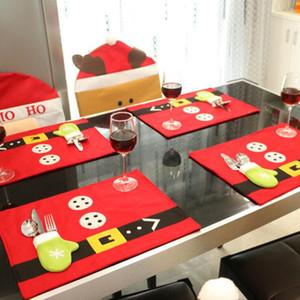 Natale tabella tableware Mats sacchetto regola posate Capodanno Santa Claus calze dono Xmas Dinner Table Decor Decorazione natalizia BWA2219