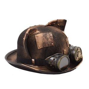 Steampunk Hat Mujeres Hombres Retro gótico gótico Ear Patch Gafas Gafas Bowler Topper Billy Cock Groom Top Hats Fedora Head Desgaste Y200102 S