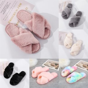 WmUuR Spring summer new slippers plush solid worsted sock ladies classic of Cross slipper clothslippers with a heel height