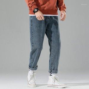 Homens jeans retos moda homens retro retro perna calças primavera outono novo na moda macho1