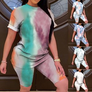 Woman 2 Piece Sets 2020 Fashion Women Loose Tie dye Print Short Sleeves Shorts 2 Piece Sports Suit Sets