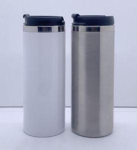Blank Sublimation Tumblers Hitze Tansfer Kaffeetasse mit Deckel doppelten Schicht-Edelstahl-Bier-Becher SEEverschiffen CCA12594 420ml