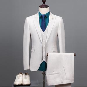 Piece Anzug Beige 3 Männer Korean Fashion Business Herren Anzüge Designer 2020 Slim Fit Hochzeitsanzüge für Männer Jacket + Vest + Pants