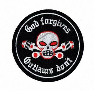 Vendita calda! Dio perdona Outlaw Do not Motociclo zona ricamato Motociclista ferro sulla zona per Jacket Vest Rider ricamo patch gratuita Shipp p7UX #