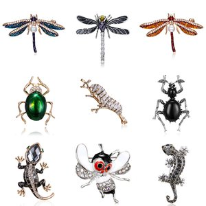 Crystal Lizard Brooches Women Cute Bee Dragonfly Beetle Silkworm Animal Pins Enamel Rhinestone Accessories