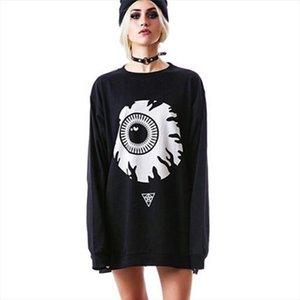 Harajuku Gothic Sweatshirt Women Streetwear Black Punk Casual Hoodie Eyeball Pattern Loose Long Sleeve Pullover Sweatshirt