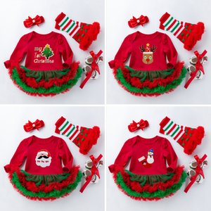 kids  clothes girls new children's Wear Baby Christmas long sleeve cartoon dress dress with four pieces of mesh dress