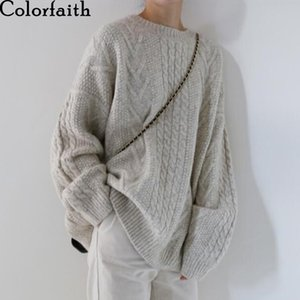 Colorfaith New Outono Inverno Mulher Camisola-pullovers Quente minimalista Knitting Senhoras elegantes solto Oversize Tops SW8108A 201012