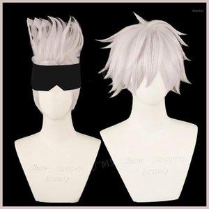 Anime Jujutsu Kaisen Gojo Satoru Cosplay парик Синтетический парик Хэллоуин Рождественская вечеринка + Бесплатная Cap1