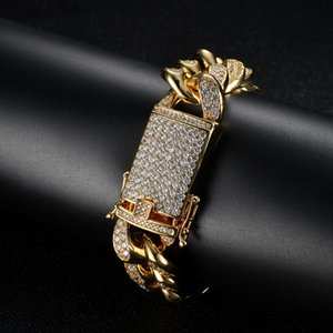 Heavy Mens Bling Bracelets 20mm Width 8 9inch Miami Cuban Chain Bracelet for Men Women Bracelet Nice Gift