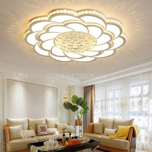 Acrylic Crystal Round Modern LED Ceiling Lights For Living Room Bedroom Lighting Fixtures Lamp Study Room White Finished Chandeliers