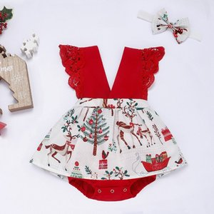 2021 CHRISTMAS BABY BODYSUIT hair band hair band children skirt set lace dress free shipping 122509